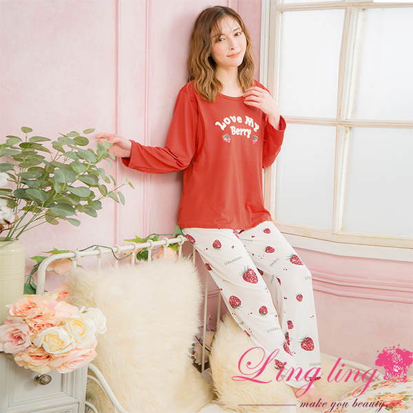 lingling A4100 full size-strawberry English word on the upper side milk silk nursing pregnant women long sleeve pajamas + trousers set (enthusiastic b
