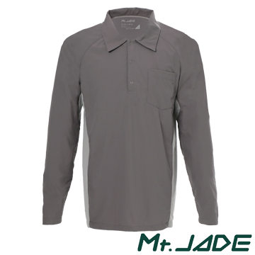 (Mt. JADE). Mt JADE Ac'Dry men Khonthal wicking long-sleeved POLO shirt - dark gray