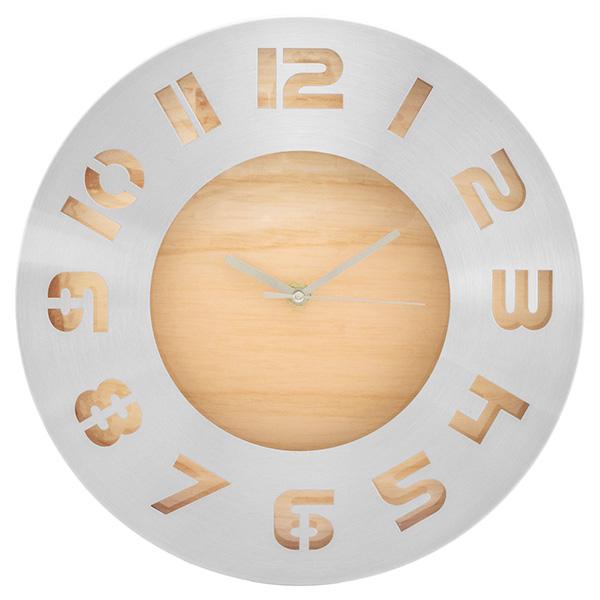 """""""Delicate"""" metal wood grain wall clock"""