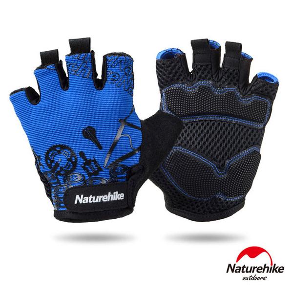 (naturehike)Naturehike Cool Breathable Outdoor Wear Riding Half Finger Gloves Blue