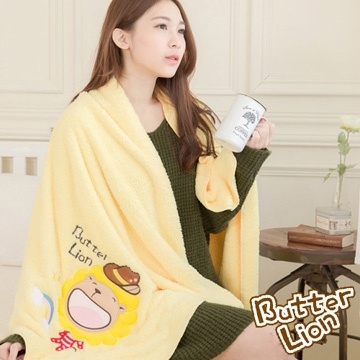 (Butterlion)Cream lion Taiwan made open fiber yarn softening absorbent towel / warm blanket - rainbow denim (warm yellow)
