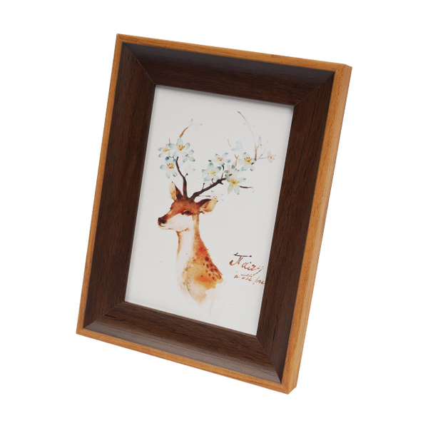 American two-color wood grain photo frame-brown