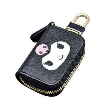 "[Small Auditorium] Kuromi Leather Zipper Key Case ""Black Purple. Big Face"" Charm. Storage Bag. Remote Control Bag"