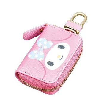 "[Small Auditorium] Melody Leather Zipper Key Case ""Pink Blue. Big Face"" Charm. Storage Bag. Remote Control Bag"