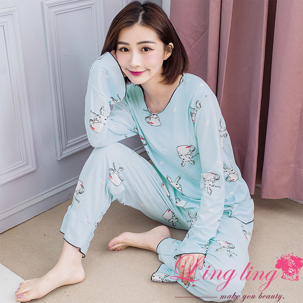 Lingling A4277 full size-fresh and bright full version of rabbit milk silk long-sleeved pajamas + trousers (two-piece pajama set) (light blue-green)