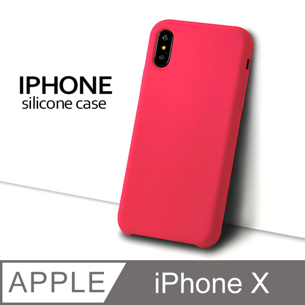 [Liquid Silicone Case] iPhone X Mobile Shell iX Protective Case Silicone Soft Shell (Camellia)