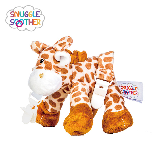 (Snuggle Soother)Snuggle Soother Soothing Fluffy Doll Pacifier Clip - Giraffe