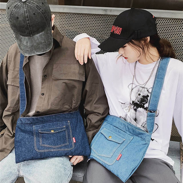 (E.City)E.City_Large Capacity Japanese Denim Shoulder Bag