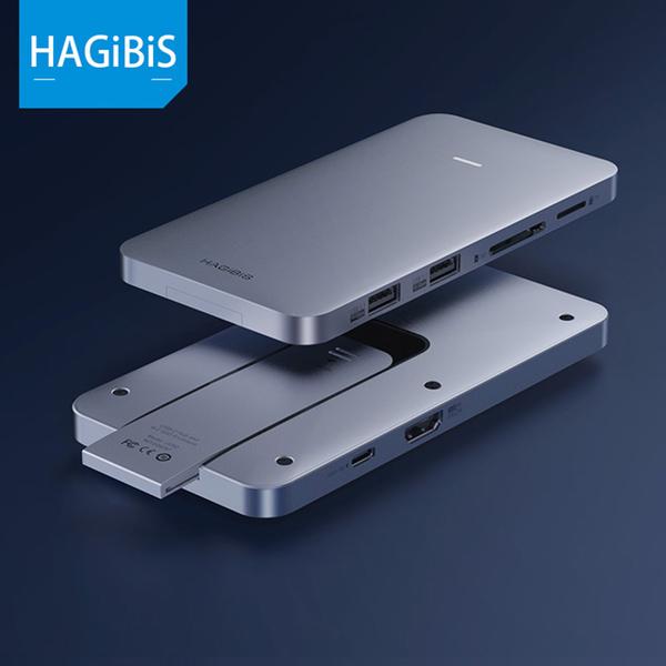 (HAGiBiS)HAGiBiS aluminum alloy 8 in 1 USB2.0 + USB3.1 Gen2 * 2 + HDMI + SD / TF card slot + PD power supply + M.2 hard disk box