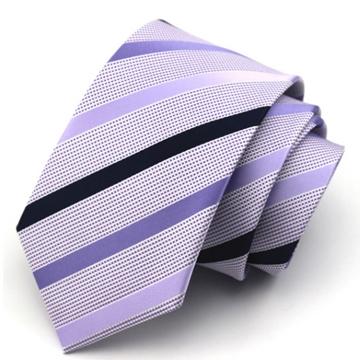 Lafu, light purple diagonal tie 7.5cm wide version tie zipper tie (purple)