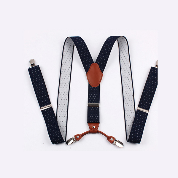 Lafu, 3.5CM sling four-clip gentleman sling (dark blue white point)