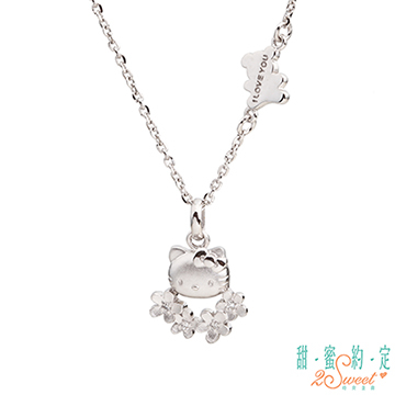 (HelloKitty)Sweet appointment HelloKitty small garland kitty sterling silver pendant to send white steel necklace