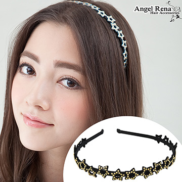 (Angel Rena)[Angel Rena] star suede bright beads headband - black