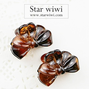 """(Star wiwi)[Star wiwi] cute little shark clip bow shape """"Hair ‧ hairpin"""" """"2 into the group,"""" """"brown"""""""