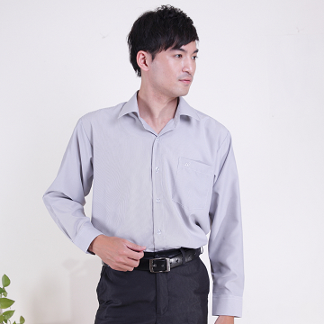 (JIA HUEI)JIA HUEI Long Sleeve Soft-Neck Moisture-wicking Wrinkle-resistant Wrinkle Shirt 3243 Pinstripe [Gray] [Made in Taiwan]