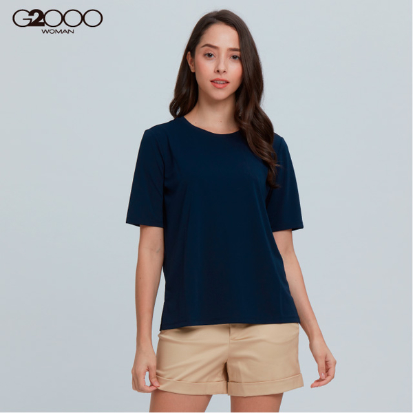 G2000 plain short sleeve casual T?-blue