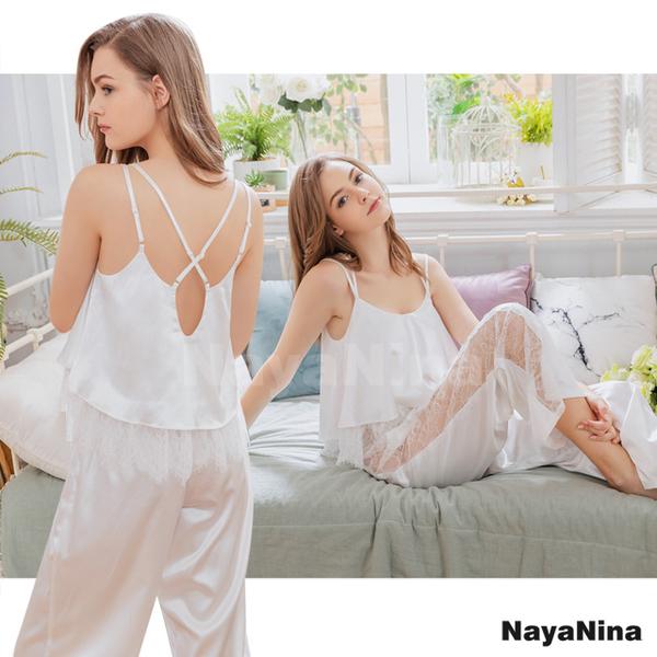 (naya nina)[Naya Nina] Snow White Satin Lace Beauty Back Trousers Two-piece Suit Home Pajamas