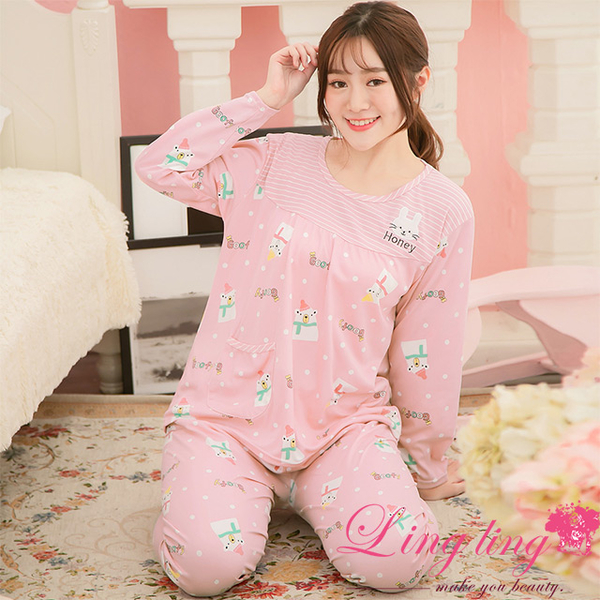 Lingling A3890-01 full size - full version of white bear bunny patch milk silk long-sleeved pajamas + trousers (two-piece pajamas group) (cute bean po
