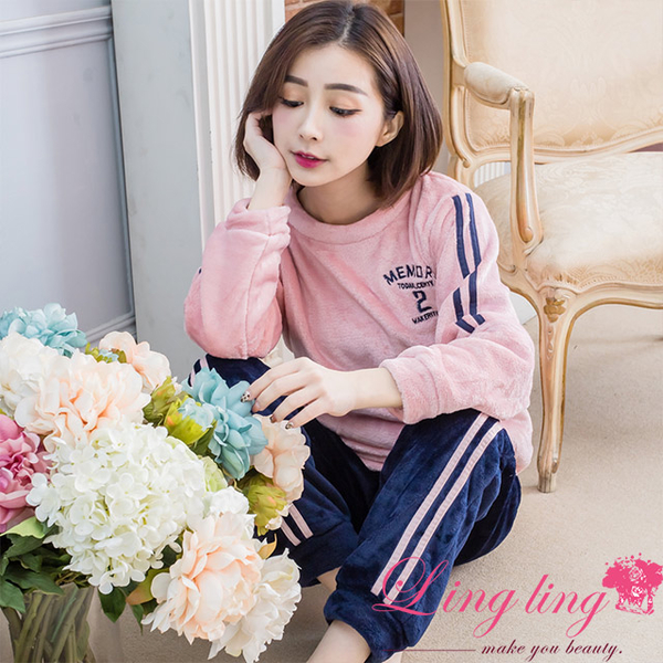 lingling A4263 full size-trendy essential English line mink velvet long-sleeved pajamas + trousers (two-piece pajama set) (trend bean flour)