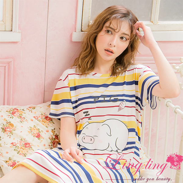 Lingling A4061 full size - pure age piglet striped milk silk short-sleeved dress pajamas (innocent white)