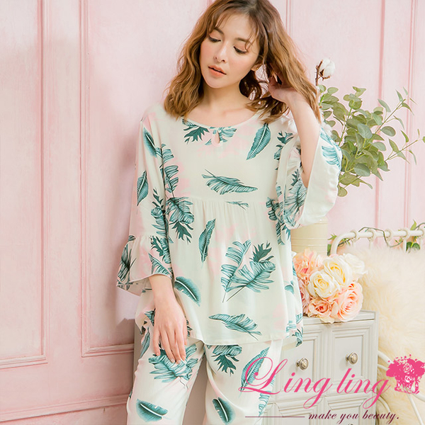 Lingling A4016 full size - elegant personality plant pattern five points lotus leaf sleeve pajamas + trousers (two-piece pajamas group) (personal ligh