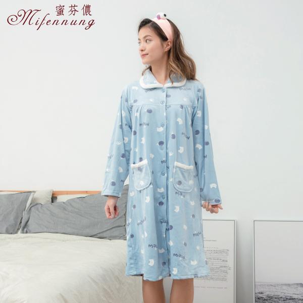 (MFN)[MFN honey ? ?] cat sweetheart warm super soft velvet full open buckle dress (2 colors)