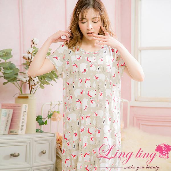 Lingling A4078 Full Size - Fantasy Fairytale Polar Bear Cotton Short Sleeve Dress Pajamas (Dream Apricot Grey)