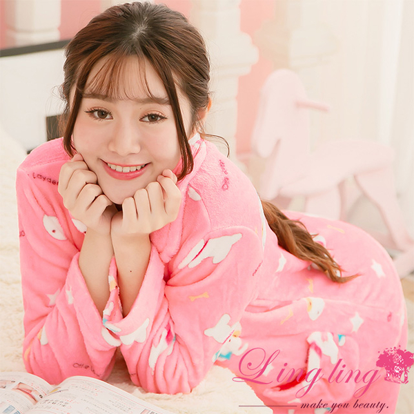 Lingling A3846-01 full size - star dog water velvet long-sleeved pajamas + trousers (two-piece pajamas group) (gentle deep powder)