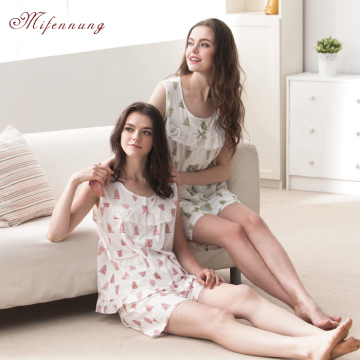 (MFN)[MFN Honey Fen] Leisurely Small Tree Sleeveless Cotton Home Pajamas