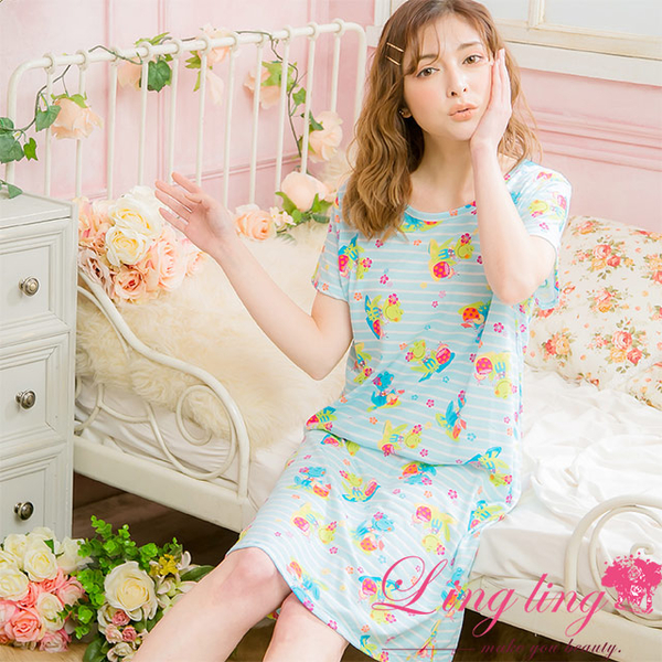 Lingling A4076 full size - childlike frog cotton short-sleeved dress pajamas (blue and white)
