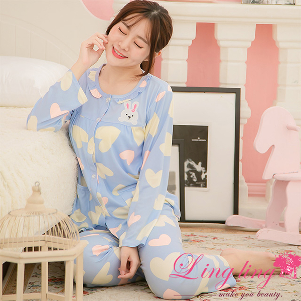 Lingling A3898 full size - love rabbit patch milk silk long-sleeved pajamas + trousers (two-piece pajamas group) (light sweet blue)