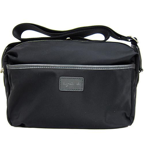 (agnes b.)agnes b. Leather Label Leather Trimmed Crossbody Bag (Black)