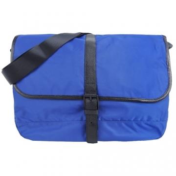(agnes b.)agnes b. Belt Buckle Leather Trimmed Crossbody Bag (Large / Blue)
