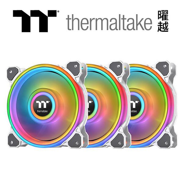 (thermaltake)Thermaltake Riing Quad 12 RGB Water Cooled Exhaust Fan TT Premium Edition (Three Fan Pack)-White