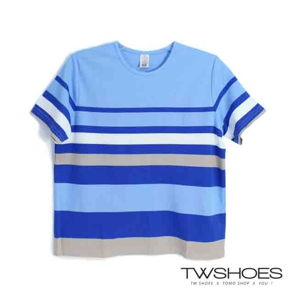(TW Shoes)Taiwan shoes net ‧100% cotton simple wind blue striped round neck T-shirt [K890AE8003] - blue and white
