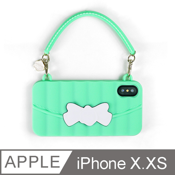(candies)[Candies] Matelasse Dinner Bag (White Bow on Green Background)-iPhone X.XS