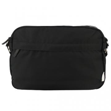 (agnes b.)agnes b. striped woven iron ring nylon cross body bag-black