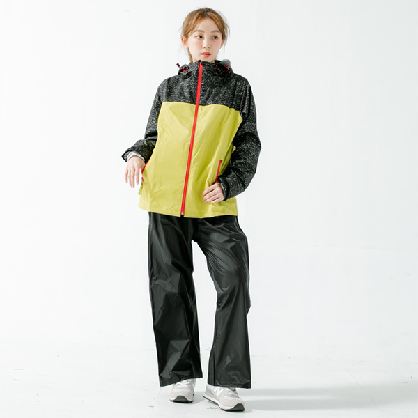 (BrightDay)Maimai does not accumulate water front guide diversion two-piece raincoat - mustard yellow