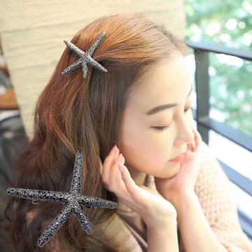 (charme)Charme Korean pop retro shape starfish hairpin black