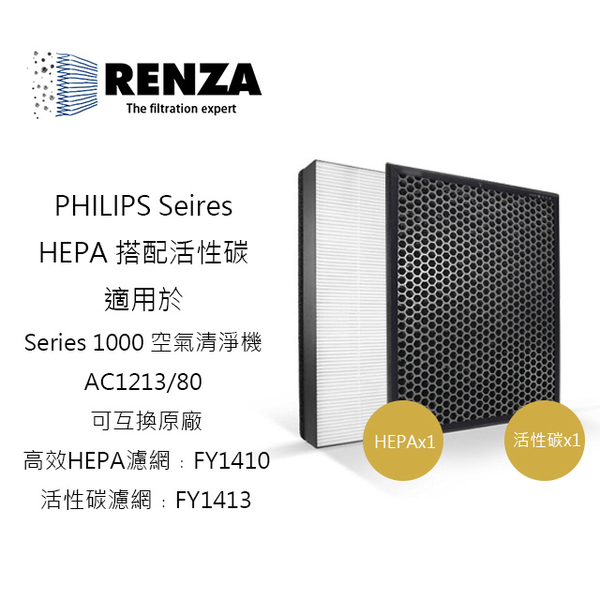 (RENZA)RENZA HEPA plus activated carbon for PHILIPS Philips Air Cleaner Filter AC1213 / 80, same as FY1410 FY1413