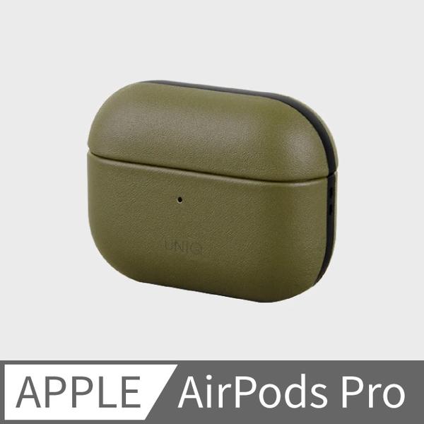 (uniq)UNIQ Terra AirPods Pro handmade leather storage protective cover with hook olive green