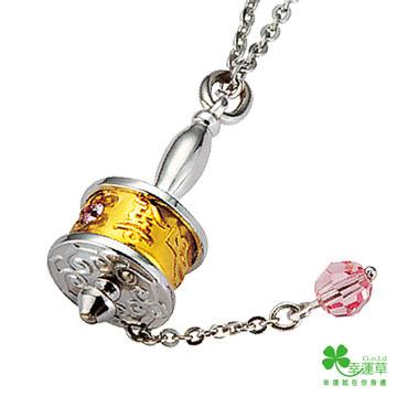 (幸運草)Lucky grass running Fulun pure gold + 925 silver pendant
