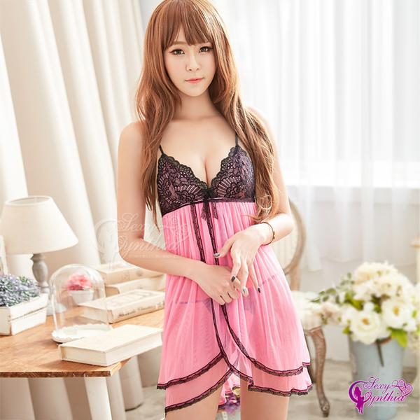 (sexy cynthia)[Sexy Cynthia] sweet pink deep V perspective lace soft yarn two-piece sexy one-piece pajamas