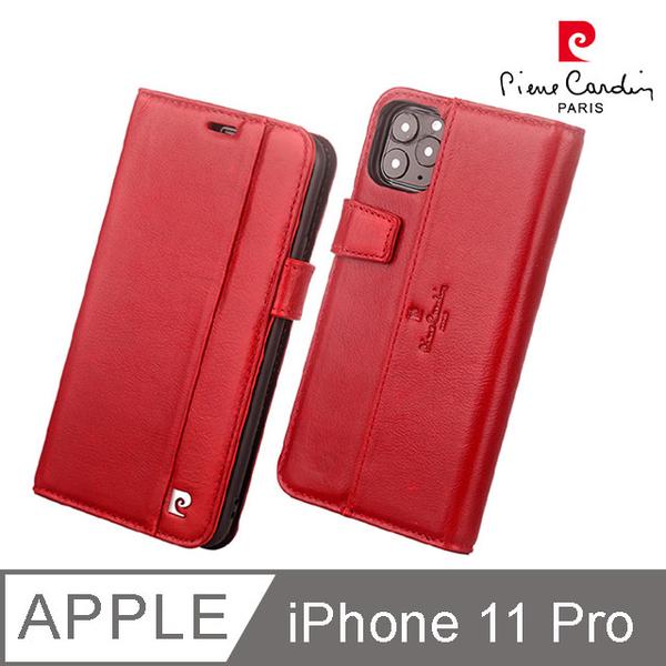 (皮爾卡登)French Pierre Cardin iPhone 11 Pro leather rollover magnetic buckle card pocket phone case red
