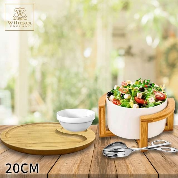 [UK WILMAX] salad bowl with bamboo round partition plate / dish rack set (20CM) gift stainless steel salad clip