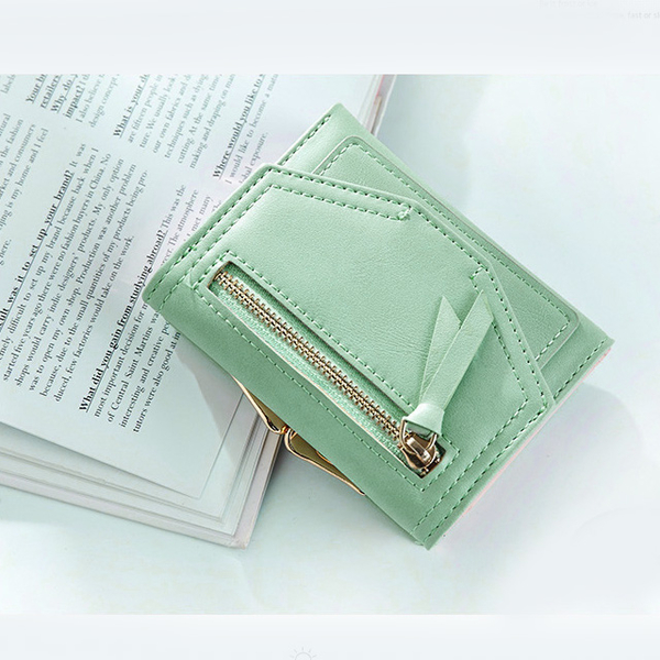 Fashion metal frame multi-card women short wallet