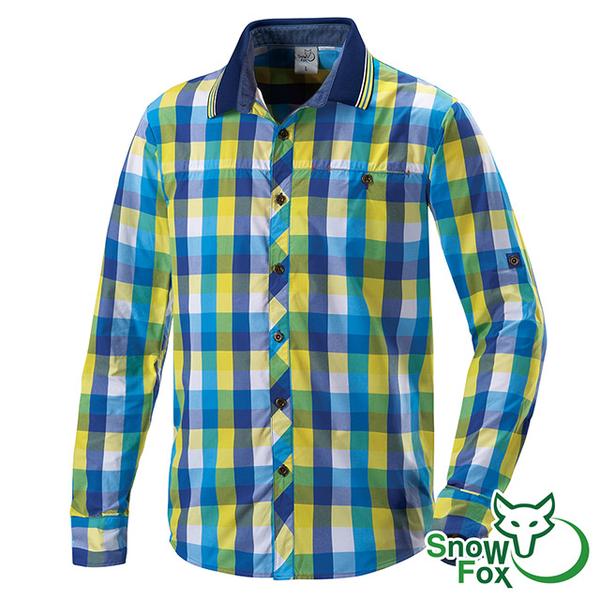 [SNOWFOX Snow Fox] เสื้อเชิ้ตแขนยาวสำหรับผู้ชายตรวจสอบ (AS-81506 สีเหลืองสีฟ้าตรวจสอบ / ครีมกันแดด / ระบายอากาศ / แห้งเร็ว / เหงื่อออก)