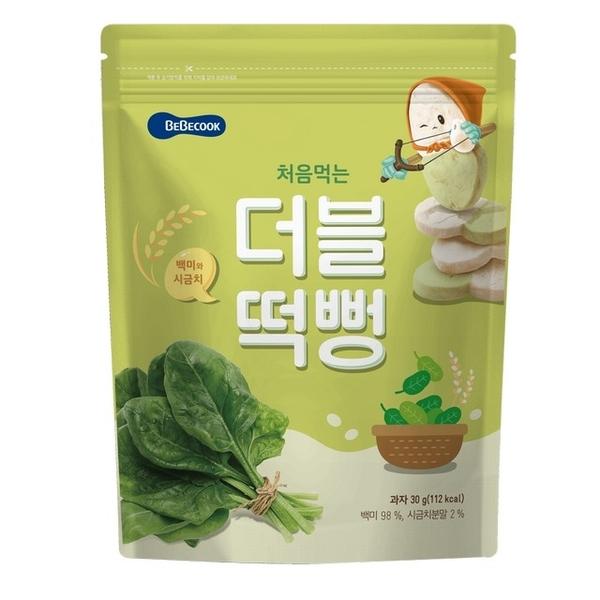 เกาหลี【 Bebecook 】ทารก Baoshen และเค้กข้าวสีเด็กเล็ก - ผักโขมข้าวขาว (30 กรัม) (2 ใน)