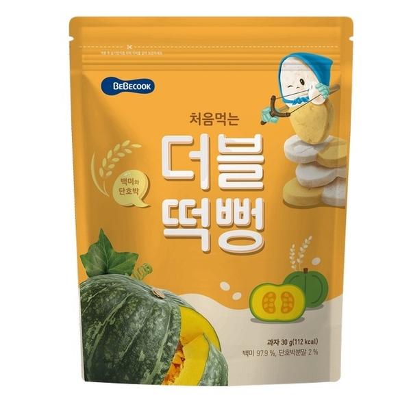 เกาหลีใต้【 Bebecook 】เค้กข้าวเด็กทารกแรกเกิดเทรเชอร์สองสี - ฟักทองข้าวขาว (30g) (2 รายการ)