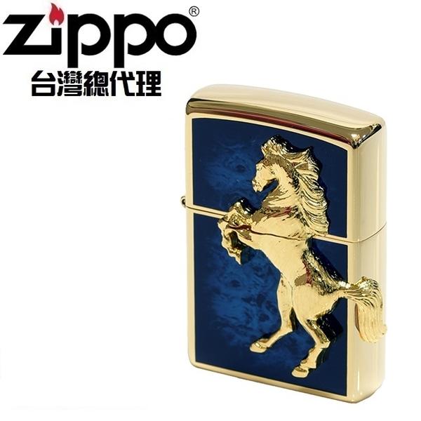 (zippo)ZIPPO GD Blue winning winny classic horse (deep sea sapphire blue gold) windproof lighter